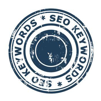 SEO keywords concept stamp