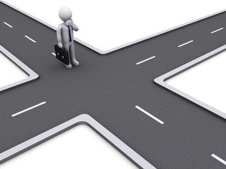 3d Businessman deciding the right way