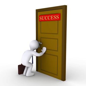 "3d businessman looking through keyhole of door that has a ""success"" sign"