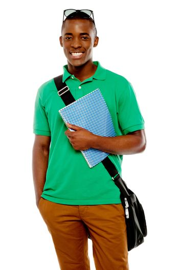 College student with sunglasses over his head
