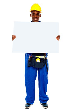 African contractor showing blank billboard