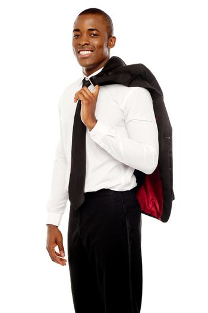 Businessman holding coat over his shoulders