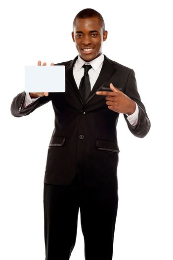 Business promoter pointing at blank placard