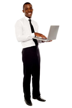 Full length portrait of businessperson holding laptop