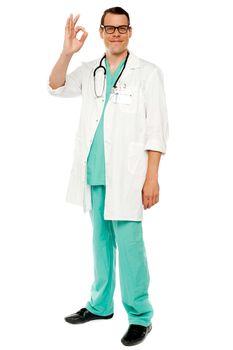 Medical practitioner showing excellent gesture