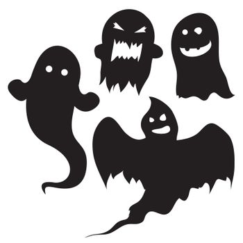 Spooky ghost vector silhouettes