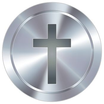 Christian cross industrial button