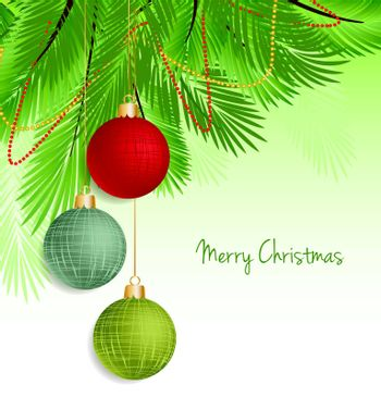 Vector christmas background with decorated christmas tree