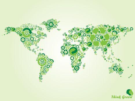World map recycle, renew, reuse symbols.