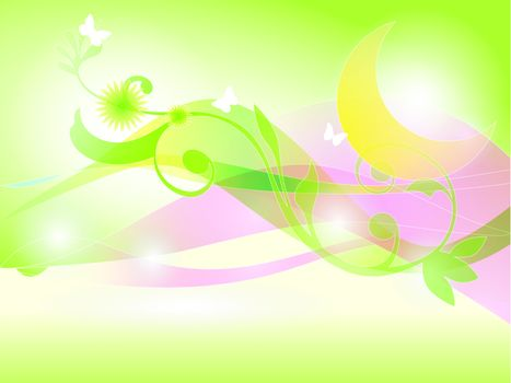 Green Abstract flower, butterfly and moon Background