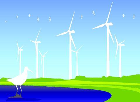 Fields of wind turbines