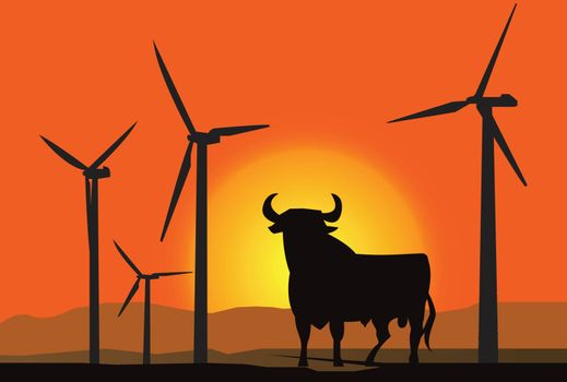 Wind turbine farm over sunset at Spain