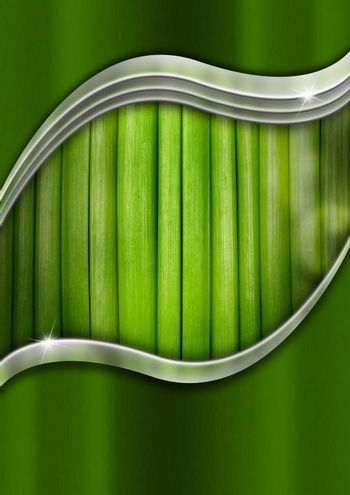 Natural green and metal business background with organic material