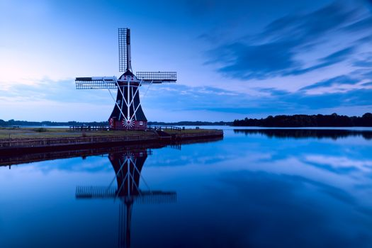 windmill in dusk