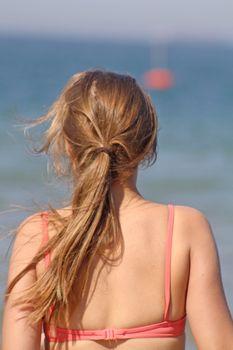 teenage girl in the sea