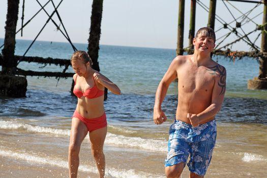 teenagers having fun in the sea