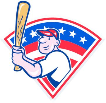 Illustration of a american baseball player batting cartoon style isolated on white with stars and stripes set inside fan shape.