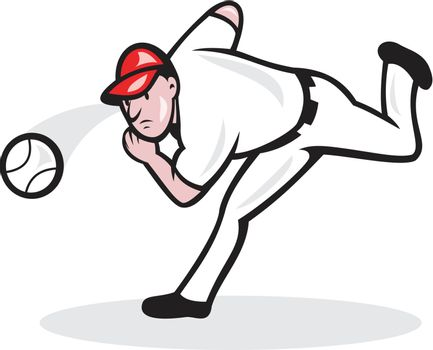Illustration of a american baseball player pitcher throwing ball cartoon style isolated on white background.