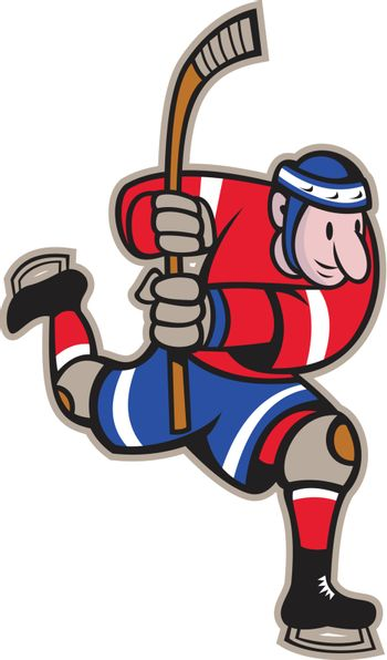 Illustration of a ice hockey player with hockey stick skating striking done in cartoon style.