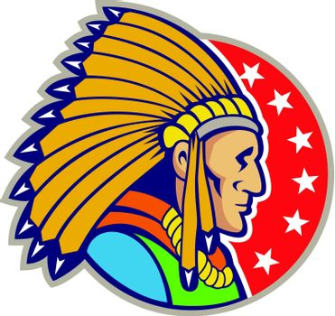 Illustration of a native american indian wearing headgear viewed from side set inside circle with stars.