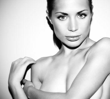 Black and white glamor female portrait