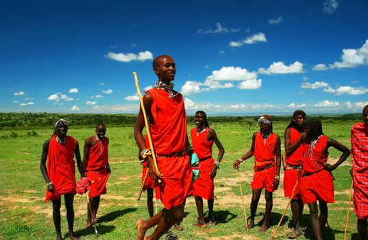 Masai warrior dancing traditional dance. Africa. Kenya. Masai Mara. Editorial use only