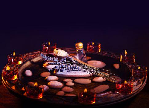 Lavender herbal spa room with zen atmosphere