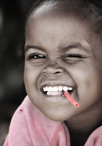 Portrait of African kid smiling. Editorial use only