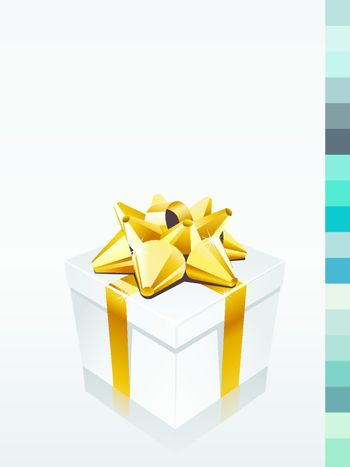 Gift box on white background with copy space