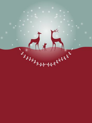Christmas card with gold reindeer whit copy space