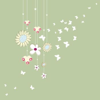 Graphics, grass, flowers and butterflies hanging
