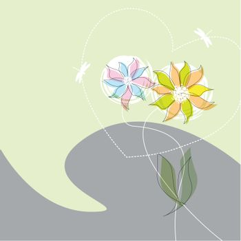 Graphic flower dance with heart