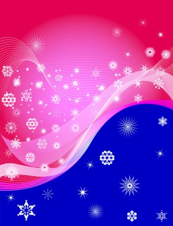 Snowflake Backgrounds on red and Blue