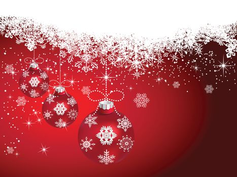 Christmas ball hanging on snowy winter background