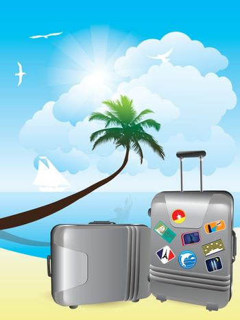 Luggage on the beach with the sea and coconut trees