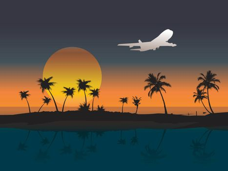 Aircraft flying to the island at sunset