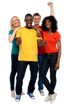 Portrait of joyful young group of friends