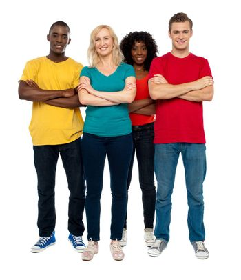 Team of young people standing with crossed hands against white background