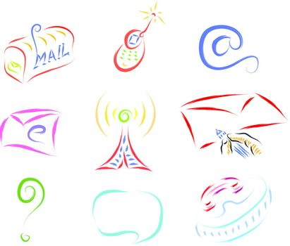 set of communication icons, vector illustration