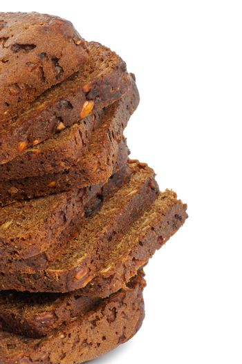 Stack of Brown bread Slices Clipping Path