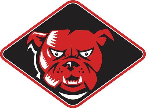 Illustration of an angry bulldog dog head facing front set inside diamond shape on isolated background.