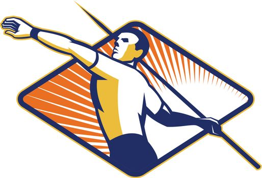 Illustration of a track and field athlete javelin throw set inside diamond shape done in retro style.