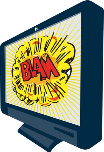 Illustration of an LCD Plasma television TV set on isolated white background with cartoon style explosion and text word blam.