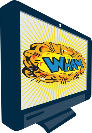 Illustration of an LCD Plasma television TV set on isolated white background with cartoon style explosion and text word wham.