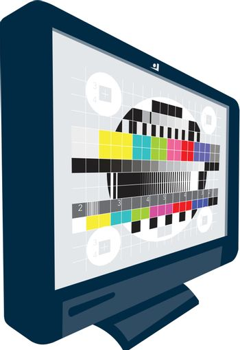Illustration of an LCD Plasma television TV set on isolated white background. with test signal pattern.