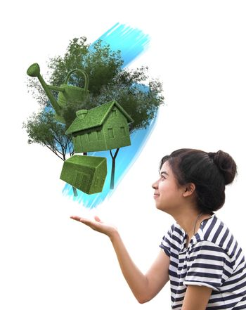 woman holding eco things, sustainable concept