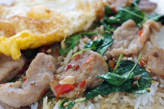 Fried rice with basil.