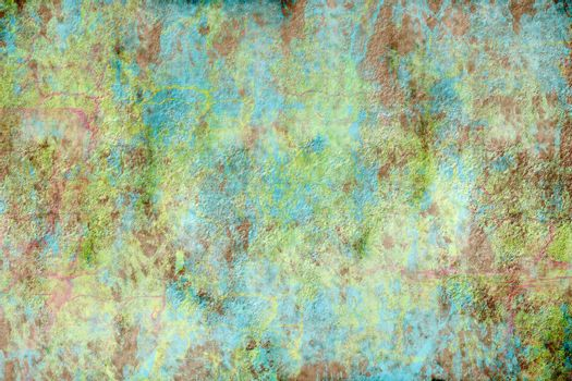 A rough, textured green and blue grunge background  with copy space