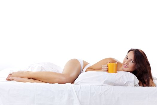 Cute woman in bed