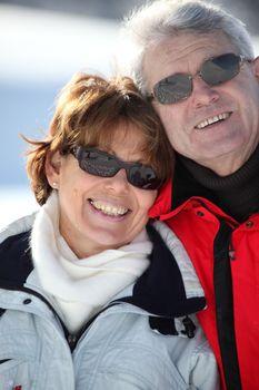 Portrait of couple in snow